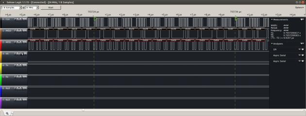 Detail of the burst mode multi-byte SPI transfer capability of the W5200.