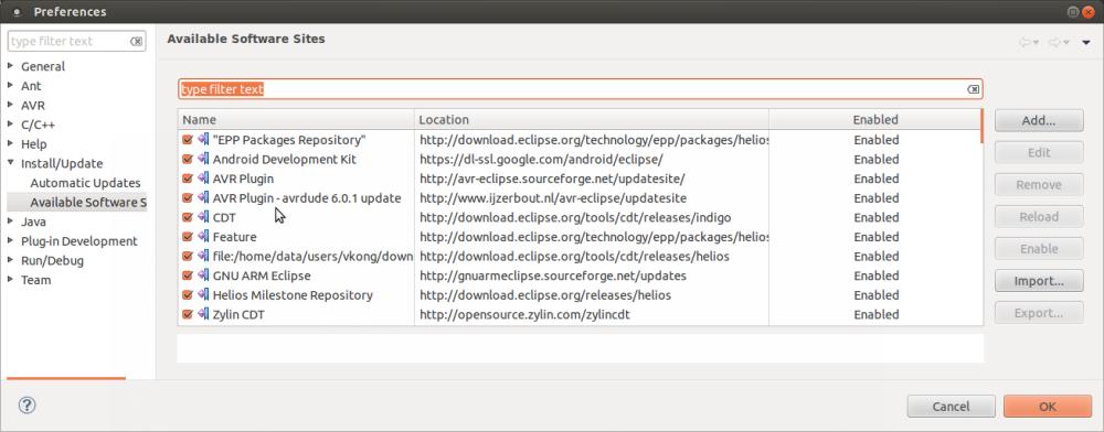 avrdude 6.0.1, avr-gcc 4.8, and keestux Eclipse AVR Plugin 2.4.1 (2/2)