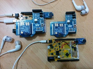 Two Goldilocks Analogue prototypes with XBee radios, and Microphone amplifiers.
